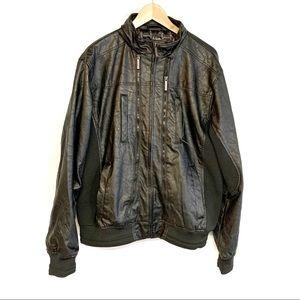 Paper Denim & Cloth black faux leather moto jacket